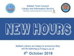 SALTASH LIBRARY NEW OPENING HOURS
